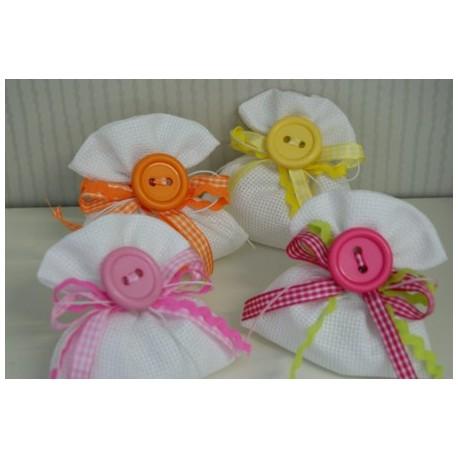 Sacchetto bianco con bottoni colorati