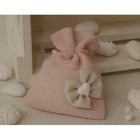 Sacchetto lino vuoto color Rosa con fiocchetto stoffa e cuoricino di gesso