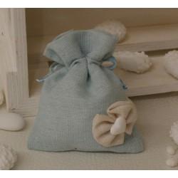 Sacchetto lino vuoto color Celeste con fiocchetto stoffa e cuoricino di gesso