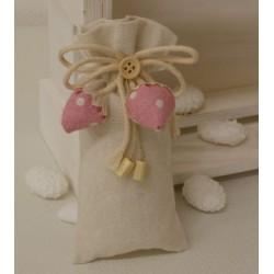 Sacchetto vuoto con fragoline pois Rosa tessuto di cotone,cordoncini e bottone