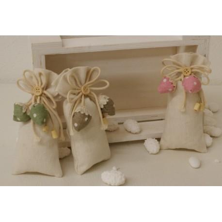 Sacchetto vuoto con fragoline pois tessuto di cotone,cordoncini e bottone