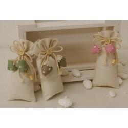 Sacchetto vuoto con fragoline pois Verde tessuto di cotone,cordoncini e bottone