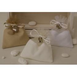 Sacchetto vuoto di cotone e rete Bianco con cuoricino pendente