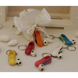 Sacchetto linone tondo vuoto con Portachiavi Scarpetta calcio e pallone colori assortiti