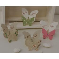 Segnaposto Farfalla molletta in 4 modelli assortiti con farfalla carta