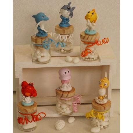 Barattolino vetro tappo legno con Amici del mare 6 modelli assortiti