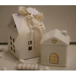 Casetta zuccheriera porcellana bianco latte confezionata