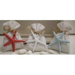 Sacchetto vuoto tela bianco latte con Stella marina 3 colori assortiti