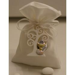 Sacchetto vuoto di raso avorio con magnete Albero della vita