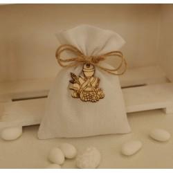 Sacchetto vuoto tela bianco latte con Calice legno
