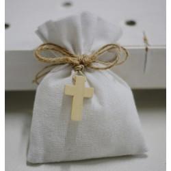 Sacchetto vuoto tela bianco latte con crocetta legno con spago