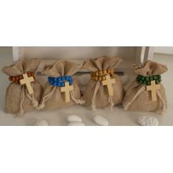 Sacchetto vuoto linone con braccialetto Rosario legno 4 colori assortiti