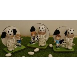 Pallone di legno con Calciatore e fialetta vetro con pallone confezionato