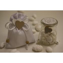 Sacchetto vuoto tela bianco con fiocchetto coda di topo e cuori legno