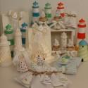 Cuscino vuoto di confetti a fiocco tessuto rigato con Barchetta a vela