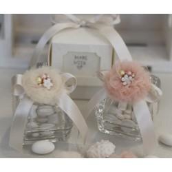 Scatolina vetro confezionata con ponpon cipria e gioiello