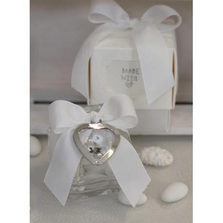 Scatolina vetro confezionata con pendente cuore gioiello