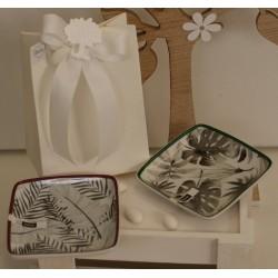 Svuotatasche di porcellana con decoro foglie confezionato