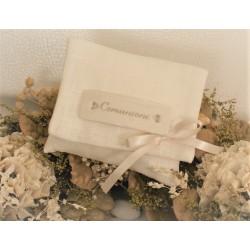 Bustina di lino vuota con targhetta Comunione di porcellana