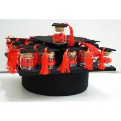 Box Doppio Tocco Laurea Nero con 24 Barattolini di vetro vuoti