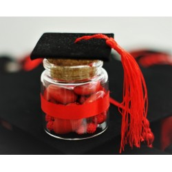 Barattolino vetro vuoto con nastrino rosso e Tappo di sughero con Tocco nero