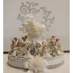 Torta per 18 pezzi con Fatine 2 colori assortiti e Albero Vita legno bianco confezionata