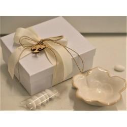 Ciotola fiore di porcellana avorio confezionata