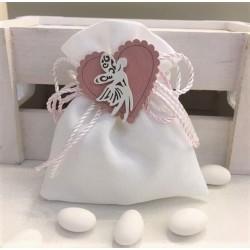 Sacchetto vuoto di tela bianco con composizione di cordoncini bianchi/rosa rifiniti al centro con un cuore con Fatina