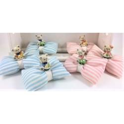 Cuscino vuoto di confetti a fiocco tessuto rigato con Orsetto 3 modelli