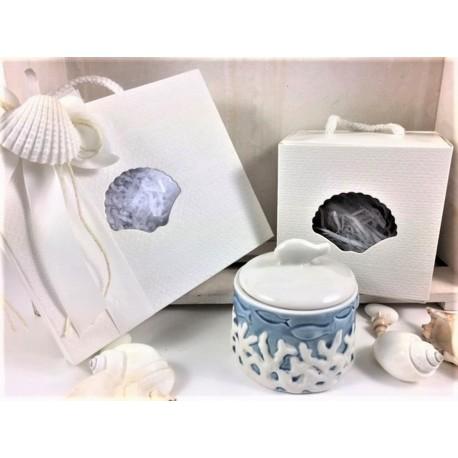 Scatola porcellana con decoro coralli bianchi confezionata