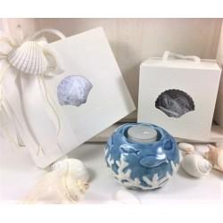 Portacandela porcellana con decoro coralli bianchi