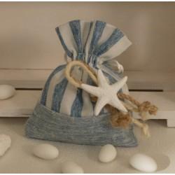 Sacchetto vuoto tessuto rigato e tinta unita con Stella gesso e corde