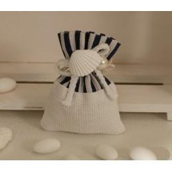 Sacchettino vuoto tessuto rigato e tinta unita con Conchiglie e perla