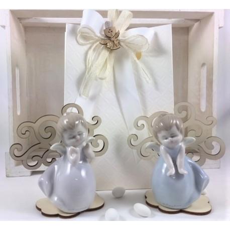 Angelo porcellana 2 modelli con Albero della Vita legno confezionato