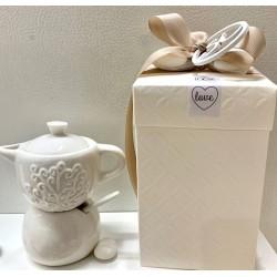 Caffettiera zuccheriera doppio gusto in porcellana confezionata