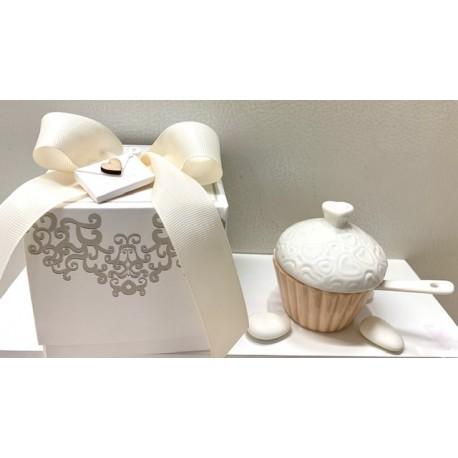 Zuccheriera cupcake di porcellana con cuoricini confezionata