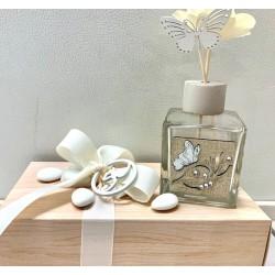 Profumatore di vetro con fiore legno e farfalle confezionato
