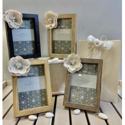 Portafoto 4 colori assortiti con fiore di lino confezionato