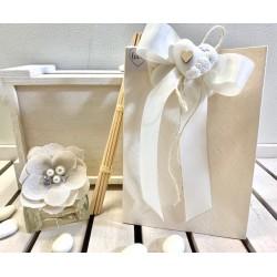 Profumatore vetro con fiore di lini gioiello confezionato