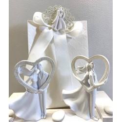 Romantici Sposini con cuore 2 modelli assortiti