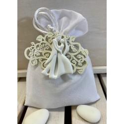 Sacchetto setoso vuoto bianco con magnete Albero della vita legno con Sposini