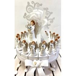 Torta con Albero della Vita di legno bianco di Angeli Fortunelli da 18 pezzi confezionata con
