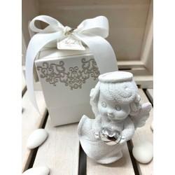Angelo salvadanaio bianco con cuore argento confezionato