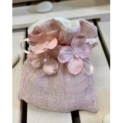 Sacchetto di lino e cotone vuoto con ciuffo di Ortensia ROSA tono su tono