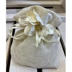 Sacchetto di lino e cotone vuoto con ciuffo di Ortensia CREMA tono su tono