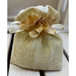 Sacchetto di lino e cotone vuoto con ciuffo di Ortensia ECRU' tono su tono