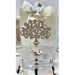Flacone profumatore di vetro con Albero della Vita e cuori confezionato