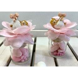 Barattolo vuoto con rosa e Neonata 2 modelli assortiti