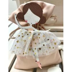 Sacchetto vuoto Rosa cipria con Ballerina di legno con tutù di tulle e magnete