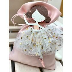 Sacchetto vuoto Rosa con Ballerina di legno con tutù di tulle e magnete